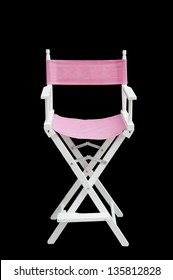 Flim industry: back view of directors chair over white background