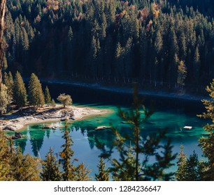 Flims lake at Switzerland alpine mountains, sunny, summer landscape, blue sky square panorama