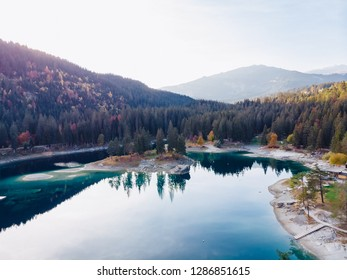 Flims lake at Switzerland alpine mountains, sunny, summer landscape, blue sky
