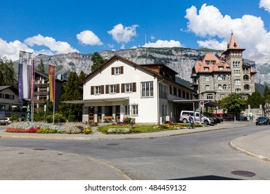 FLIMS, SWITZERLAND - SEPTEMBER 9, 2016: Exterior view of the old the old town part of Flims on September 9, 2016. Flims is a popular recreation area in the Swiss canton of Graubunden.