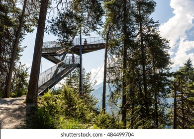 FLIMS, SWITZERLAND - SEPTEMBER 9, 2016: View of the outlook platform Il Spir near Flims on September 9, 2016. The platform provides a beautiful overlook to the Rhine Valley in the canton Graubunden.