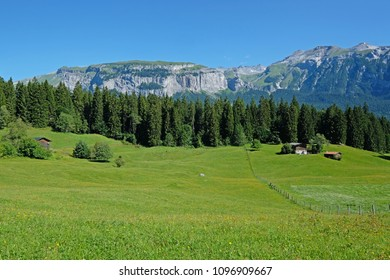 The Flimserstein mountains in Flims Laax, Graubunden, Switzerland, Europe