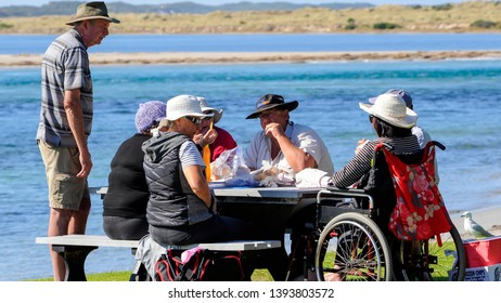 Flinders Bay, Augusta, Western Australia, 10/5/2019. Fish and Chips, for lunch, on the Blackwood River after a few hours fishing. Gray Nomads, on holidays having lunch at Flinders Bay Augusta.