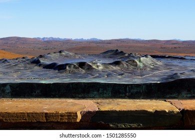 Flinders Ranges, South Australia, Australia, August 28, 2019. 3D Model of Wilpena Pound on the Top of Stokes Lookout