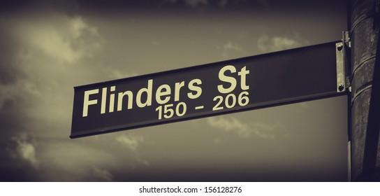 flinders street sign closeup in melbourne