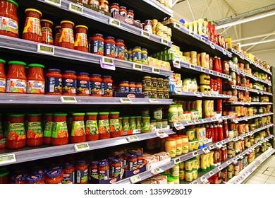 Flins, France- may 17 2018 : a supermarket