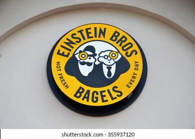 FLINT, MI - AUGUST 22: Einstein Bros. Bagels, whose Flint, MI store logo is shown August 22, 2015, has 350 stores.