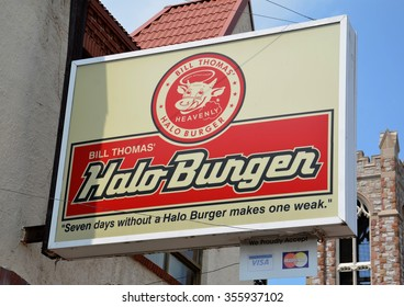 FLINT, MI - AUGUST 22: Halo Burgers, whose Flint, MI store logo is shown August 22, 2015, has 16 locations in Michigan.