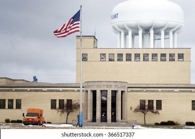 FLINT, MICHIGAN January 23, 2016: City Of Flint Water Plant In Flint, January 23, 2016,  Flint, Michigan