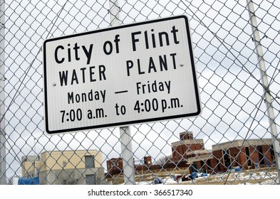 FLINT, MICHIGAN January 23, 2016: City Of Flint Water Plant Sign In Flint, January 23, 2016, Flint, Michigan