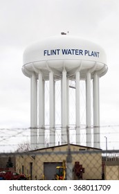 FLINT MICHIGAN January 23, 2016: Water Tower At Flint Water Plant In Flint, January 23, 2016, Flint, Michigan