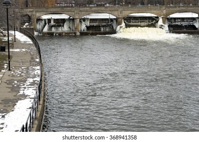 FLINT, MICHIGAN, January 23, 2016: The Flint River, source of the city's drinking water, January, 23, 2016, Flint, Michigan.