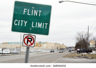 FLINT MICHIGAN, January 23, 2016: Flint City Limit Sign, January 23, 2016, Flint, Michigan.