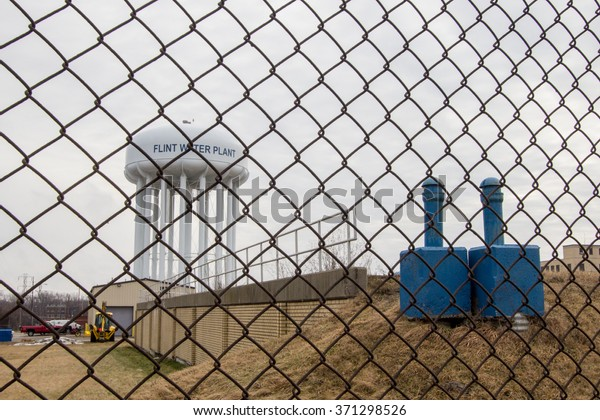 Flint, Michigan, USA - February 2, 2016. The exterior of the Flint Water Plant tower. Flint is in the spotlight as concerns over it's water quality and lead content have made national headlines.