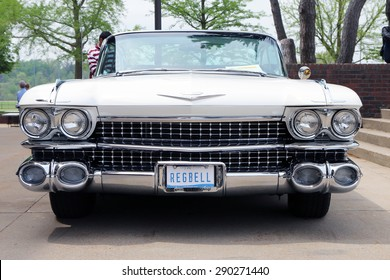 FLINT, MICHIGAN-JUNE, 2015:  Front end of a fully restored 1959 Cadillac Coupe de Ville convertible.