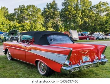FLINT, MI/USA - JUNE 22, 2019: A 1957 Chevrolet Bel Air car at the Sloan Museum Auto Fair car show, held at Crossroads Village, near Flint, Michigan.