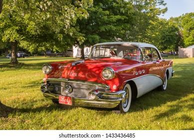 FLINT, MI/USA - JUNE 22, 2019: 1956 Buick Special Riviera car with VentiPorts at the Sloan Museum Auto Fair car show, held at Crossroads Village, near Flint, Michigan.