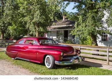 FLINT, MI/USA - JUNE 22, 2019: 1950 Mercury car at the Sloan Museum Auto Fair car show, held at Crossroads Village, near Flint, Michigan.