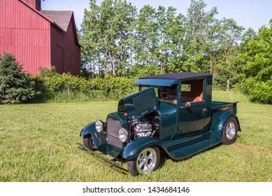 FLINT, MI/USA - JUNE 22, 2019: A 1928 Ford Model A pickup truck at the Sloan Museum Auto Fair car show, held at Crossroads Village, near Flint, Michigan.