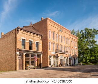 FLINT, MI/USA - JUNE 22, 2019: Historic North & Son Bank and Patterson's Dry Goods store, on Main Street, at Crossroads Village, in Genessee County Park, in Flint, Michigan.