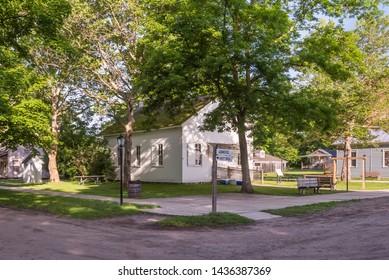 FLINT, MI/USA - JUNE 22, 2019: Vintage homestead at Crossroads Village, in Genessee County Park, in Flint, Michigan.
