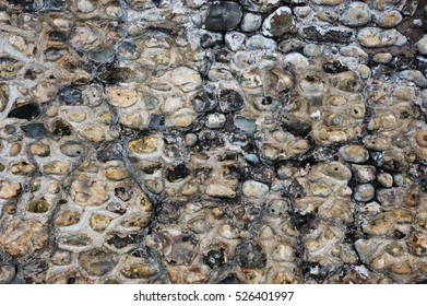 Flint and Stone Wall Background Texture