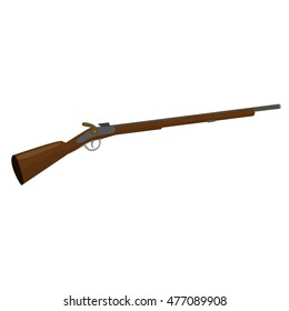 flintlock muzzle loader musket. Old fashioned rifle vintage musket gun. Raster illustration