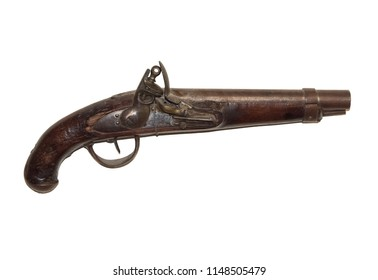 Flintlock Pistol used in the War Of 1812 on White Background