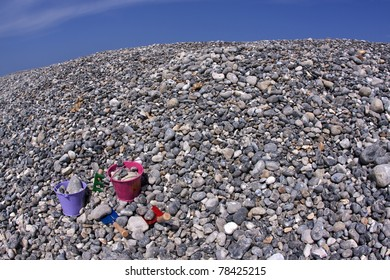 Flintstone on the beach along the coast of Normandie in France