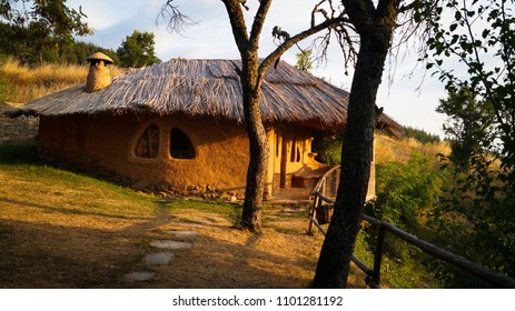 Flintstones prehistoric house: clay house. This traditional house is located in Leshten, Bulgaria, close to Kovachevitsa in the Rhodope mountains.