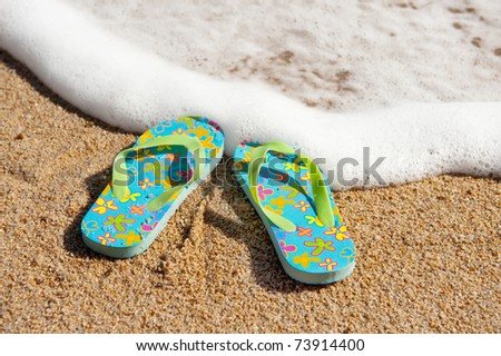 a242fa75bba9 Flip Flop Sandals Beach Near Water Stock Photo (Edit Now) 73914400 ...