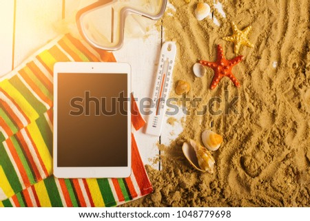 1f9fccb1e9fc5d Flip Flops Ball Tablet Pc Seashell Stock Photo (Edit Now) 1048779698 ...