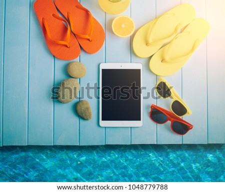 37158082ab36fb Flip Flops Ball Tablet Pc Seashell Stock Photo (Edit Now) 1048779788 ...