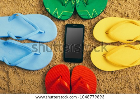 d38b79e2e1ddc3 Flip Flops Ball Tablet Pc Seashell Stock Photo (Edit Now) 1048779893 ...