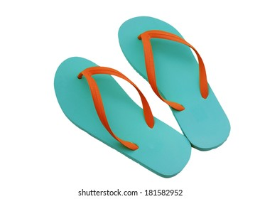 Flip flops in blue and orange