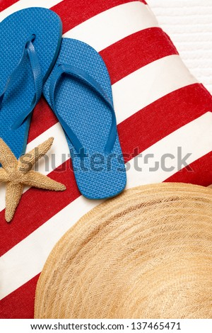 6b59f334bf03 Flip Flops Hat Towel Starfish Day Stock Photo (Edit Now) 137465471 ...