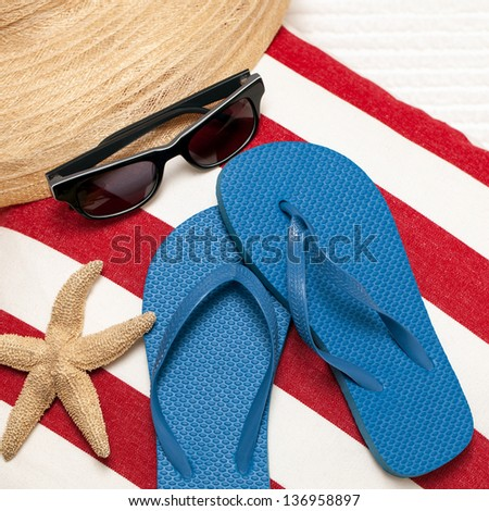 8a02a28d7bc8 Flip Flops Hat Towel Sunglasses Starfish Stock Photo (Edit Now ...