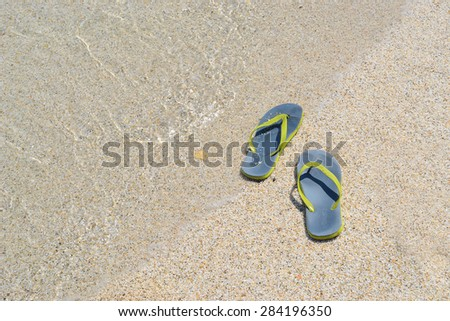 46bb4b7ff Flip Flops On Sandy Beach By Stock Photo (Edit Now) 284196350 ...