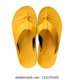 57ba0cc8b88 Flip flops or Slippers golden isolated on white background. Top view.  Objects with clipping