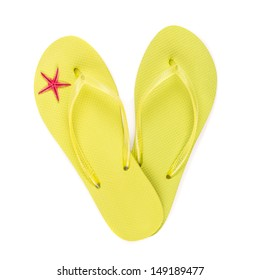 Flip flops with starfish isolated on white.