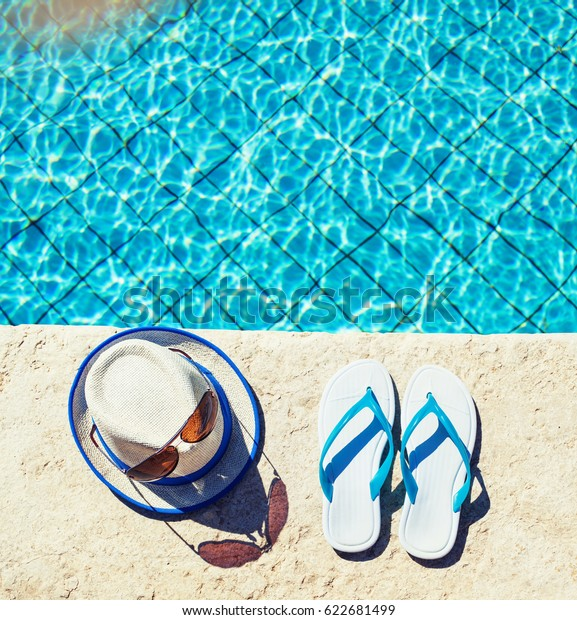 c5ff5f6ba24e83 flip flops sunglasses and hat near the pool, sandals by a pool, summer  background