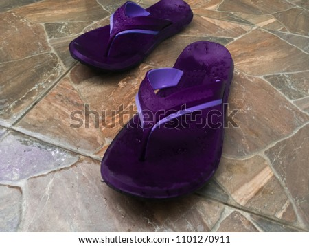 1f2f1268f Flip Flops Wet Stone Floor Tile Stock Photo (Edit Now) 1101270911 ...