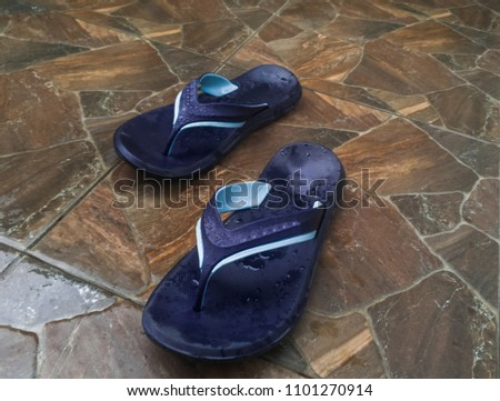 76a10c9df Flip Flops Wet Stone Floor Tile Stock Photo (Edit Now) 1101270914 ...
