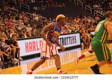 Flip guard for the Harlem Globetrotters at Talking Stick Resort Arena in Phoenix Arizona USA August 11,2018.