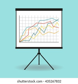 Flipchart, whiteboard or projection screen with marketing data. Flat design.
