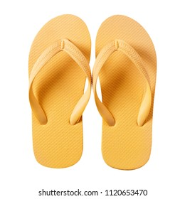 Flipflops bright yellow isolated on white background