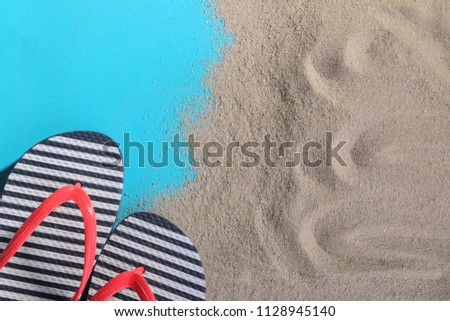 7456a17f8 Flipflops Sand On Blue Background Top Stock Photo (Edit Now ...