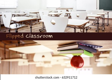 Flipped classroom concept. Interior of school room