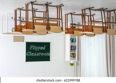 Flipped classroom concept. Inversed interior of school room