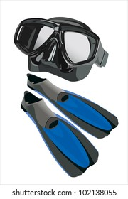 flippers and mask for diving